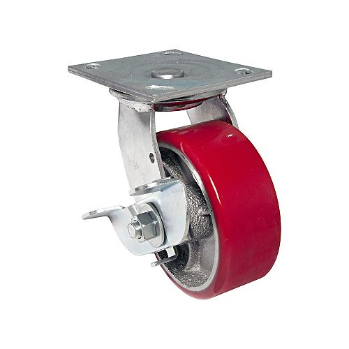 Heavy-Duty MoldOn Polyurethane Industrial Casters, Swivel with Brake, Red