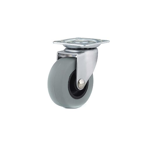 Industrial Gray Rubber Caster, Swivel Without Brake, with Plate, Gray