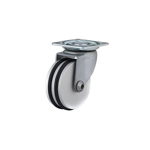 Contemporary Furniture Caster, Swivel Without Brake, with Plate, Black, Aluminum