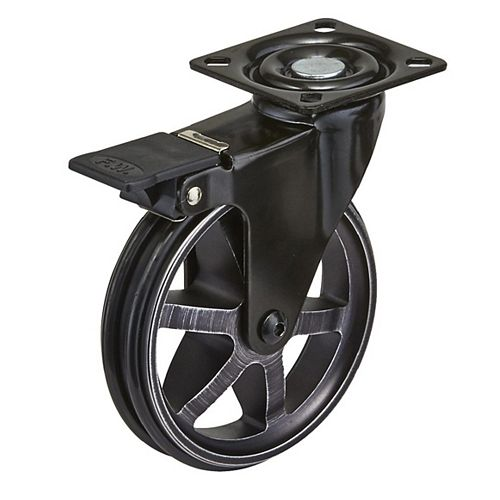 Aluminum Single Wheel Design Caster, Swivel Without Brake, with Plate, Rustic Iron