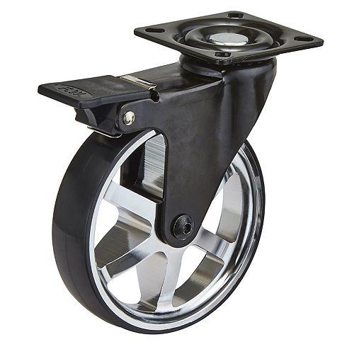 Aluminum Single Wheel Design Caster, Swivel with Brake, with Plate, Black/Chrome