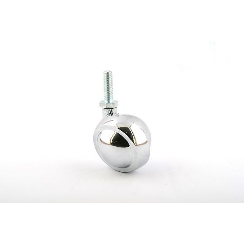 Ball Furniture Caster, Swivel Without Brake, with Threaded Stem, Polished Chrome