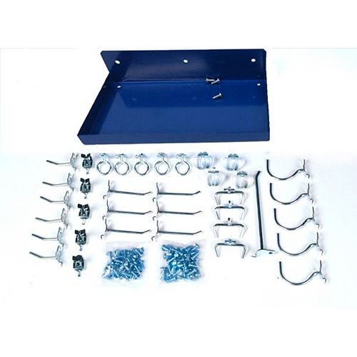 12 In. W x 6 In. Deep Blue Epoxy Coated Locking Steel Pegboard Shelf with 36 Assorted DuraHooks