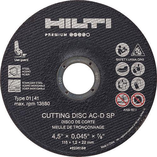 Meule-disque de coupe mince Premium AC-D SP de type 1 de 4,5 po x 0,045 po x 7/8 po (paq 25)