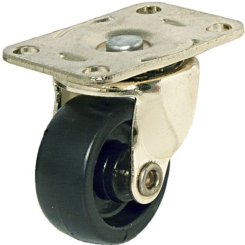Light-Duty Furniture Caster, Swivel Without Brake, with Plate, Brass, Black