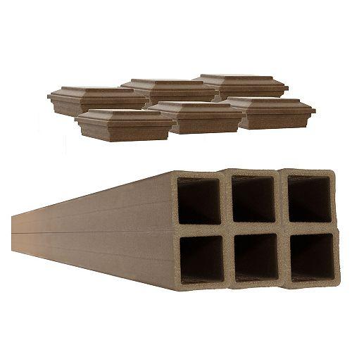 Kit de 6 Poteaux de Clôture avec Capuchon Trex Brun Amande de 5 po x 5 po x 9 pi