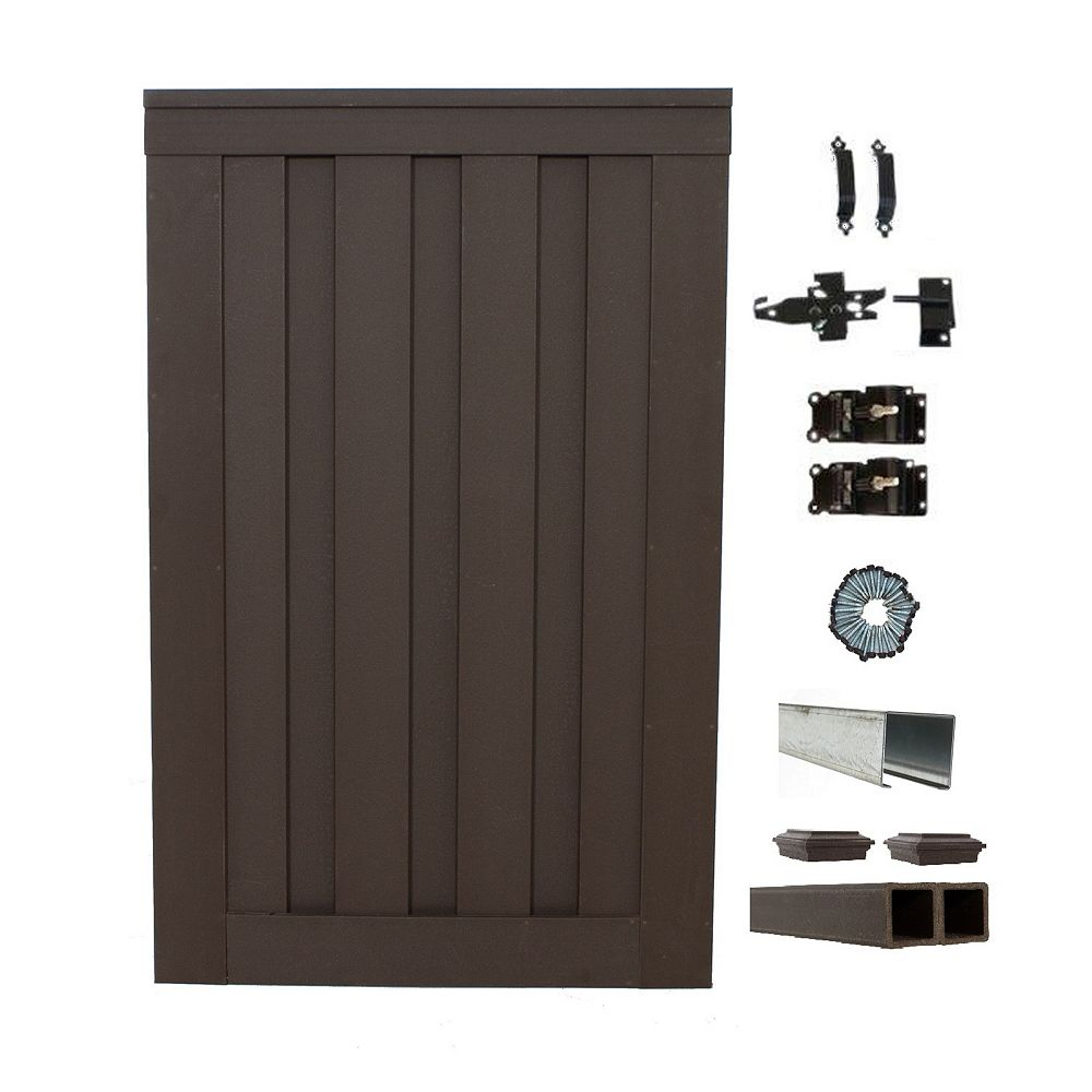 Trex Fencing 4 ft. x 6 ft. Trex Seclusions Woodland Brown Single Gate Panel Kit with Posts And Gate Hardware