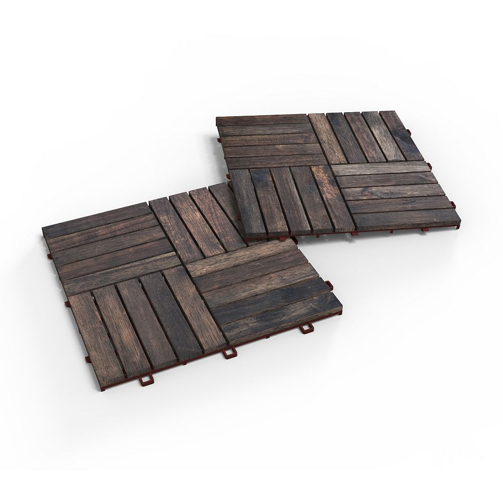 INTERBUILD Acacia CAMP20 Deck Tiles, 25 Boxes, 250 tiles, 250 square feet, Espresso
