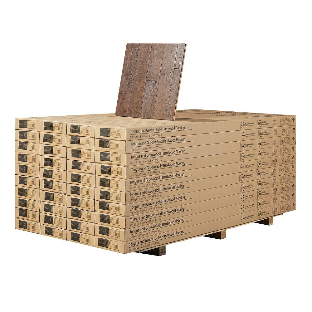 Malibu Wide Plank Revêtement de sol en bois franc massif, chêne français OCEAN CITY, 3/4 po x 5 po, 904 pi2/palette