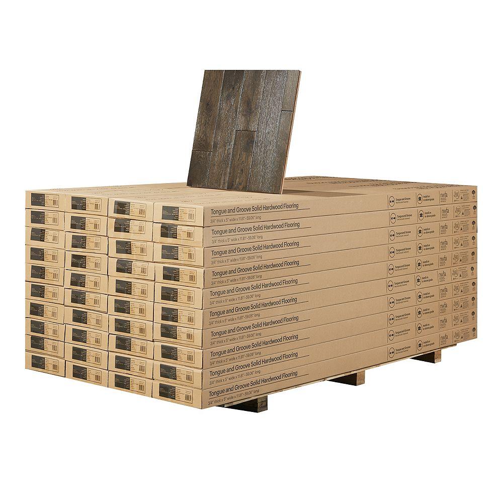 Malibu Wide Plank Revêtement de sol en bois franc massif, chêne français BOCA RATON, 3/4 po x 5 po, 904 pi2/palette