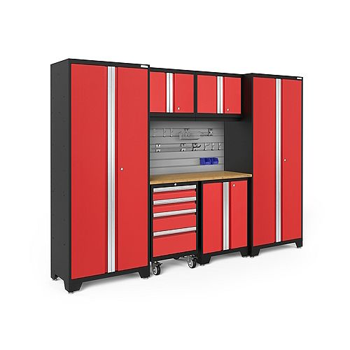 Bold Series Red 7-Piece Cabinet Set