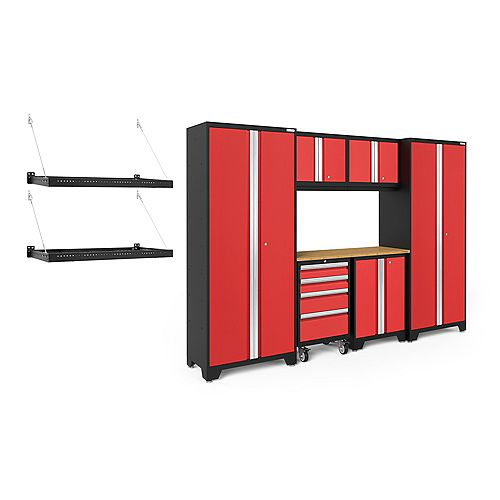 Bold Series Red 9-Piece Cabinet Set