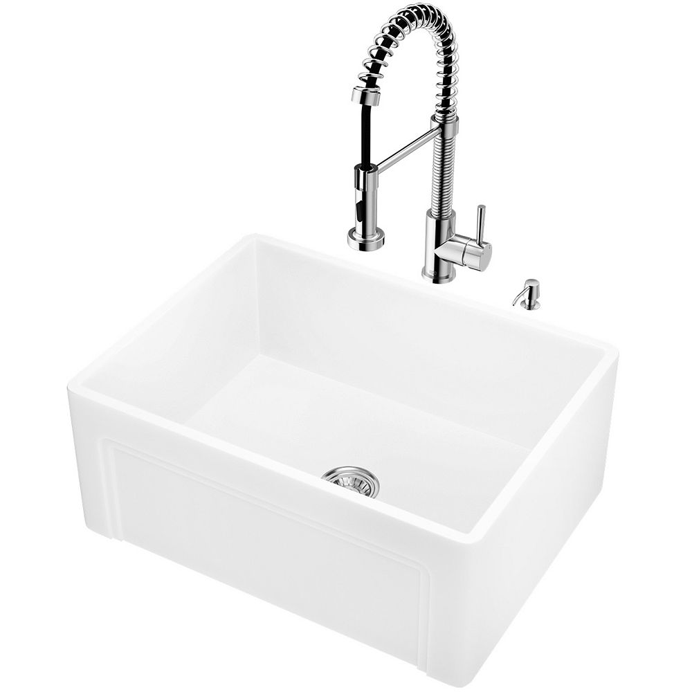 VIGO All-in-One Farmhouse Apron Front White Matte Stone 24 in. Single Bowl Kitchen Sink with Pull-Down Faucet in Chrome