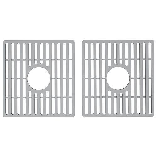 Grille de fond d'évier en acier inoxydable de 15 po x 15 po Grille de fond en silicone pour évier de cuisine composite à double cuvette de 33 po. Grille de fond en silicone pour évier de cuisine en composite à double cuvette de 33 po en gris (paquet de 2)