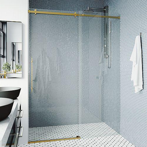 Luca 56 à 60 po. L x 79 po H Porte de douche coulissante sans cadre en or mat avec verre clair