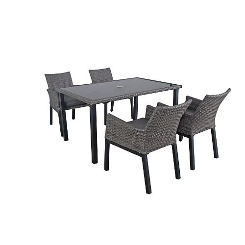 Napa 5-Piece Wicker Rectangular Patio Dining Set with Charcoal Seat Pads