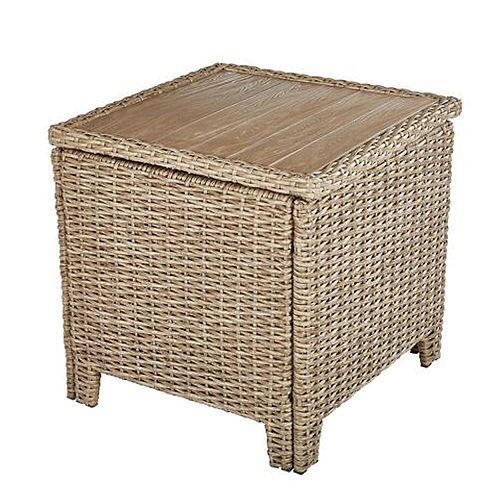 Hampton Bay Amber Grove Brown Wicker Outdoor Accent Trunk Table