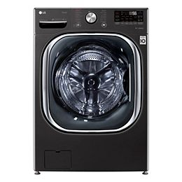 5.8 cu. ft. Smart Front Load Washer with Artificial Intelligence and Wi-Fi in Black, Stackable