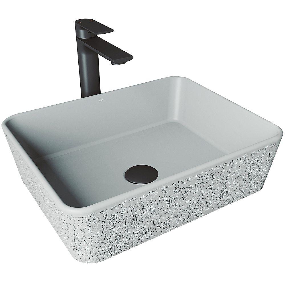 VIGO Cast Stone Zinnia Concrete Rectangular Vessel Bathroom Sink in Ash Gray with Faucet and Pop-Up Drain in Matte Black