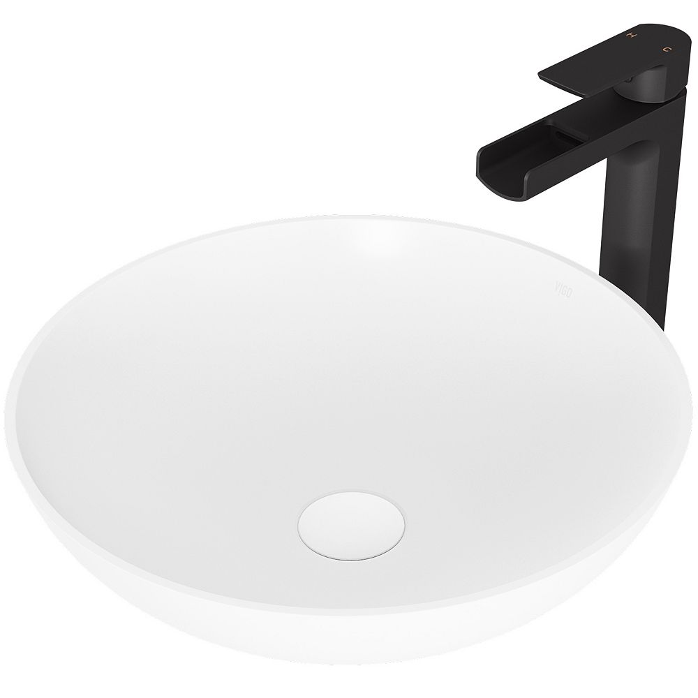 VIGO Lotus Matte Stone Vessel Bathroom Sink in White with Amada Faucet in Matte Black