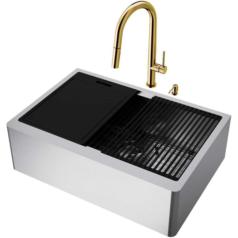 VIGO Oxford Stainless Steel 30 in. Single Bowl Farmhouse Apron-Front Workstation Kitchen Sink with Faucet and Accessories