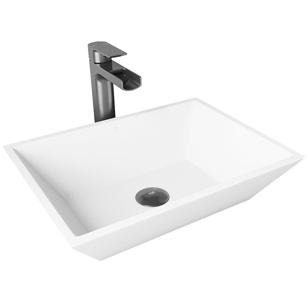 VIGO Matte Stone Vinca Composite Rectangular Vessel Bathroom Sink in White with Faucet and Pop-Up Drain in Graphite Black