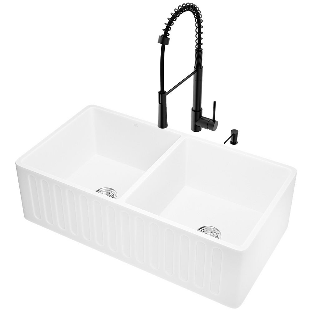 VIGO Matte Stone White Composite 33 in. Double Bowl Slotted Farmhouse Apron-Front Kitchen Sink with Faucet and Accessories