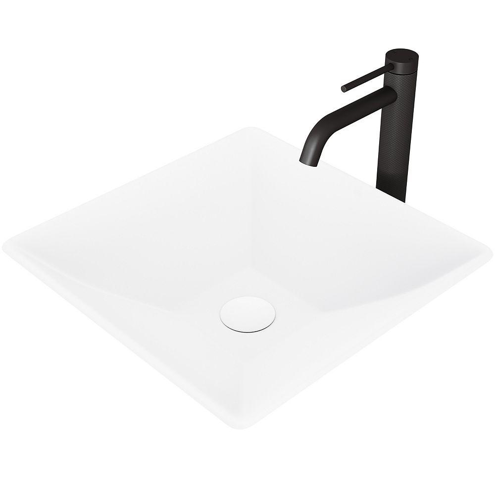 VIGO Hibiscus Vessel Sink in White with Faucet in Matte Black