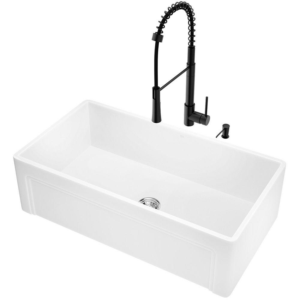 VIGO Évier de cuisine composite blanc mat à tablier de ferme à un seul bac, 33 po, avec robinet et accessoires
