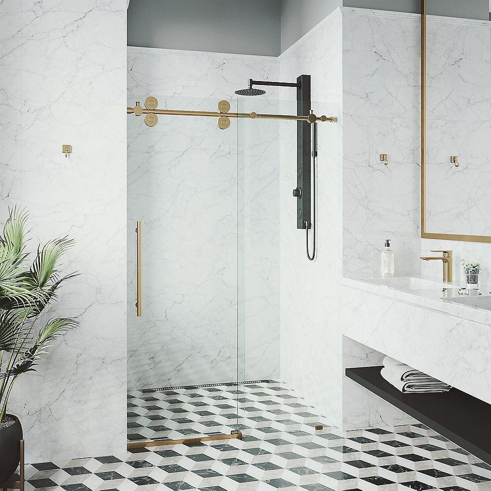 VIGO Porte de douche coulissante sans cadre Elan 44 po à 48 po x 74 po Porte de douche coulissante sans cadre en or mat avec verre clair et poignée