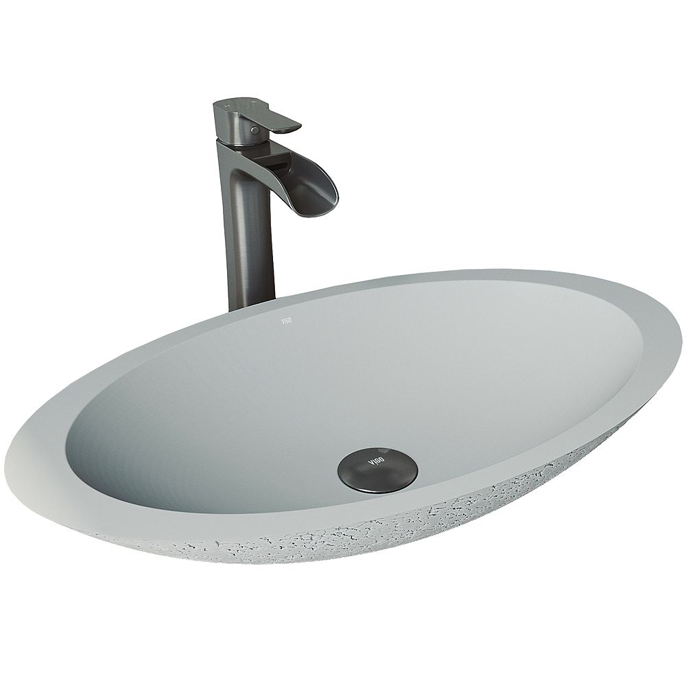 VIGO Vasque de salle de bain ovale en béton Cast Stone Yarrow en gris cendré avec robinet Niko et vidange automatique en noir graphite
