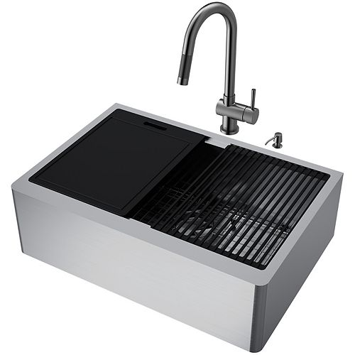 VIGO All-in-One Farmhouse Apron Front Stainless Steel Single Bowl Kitchen Sink with Graphite Black faucet