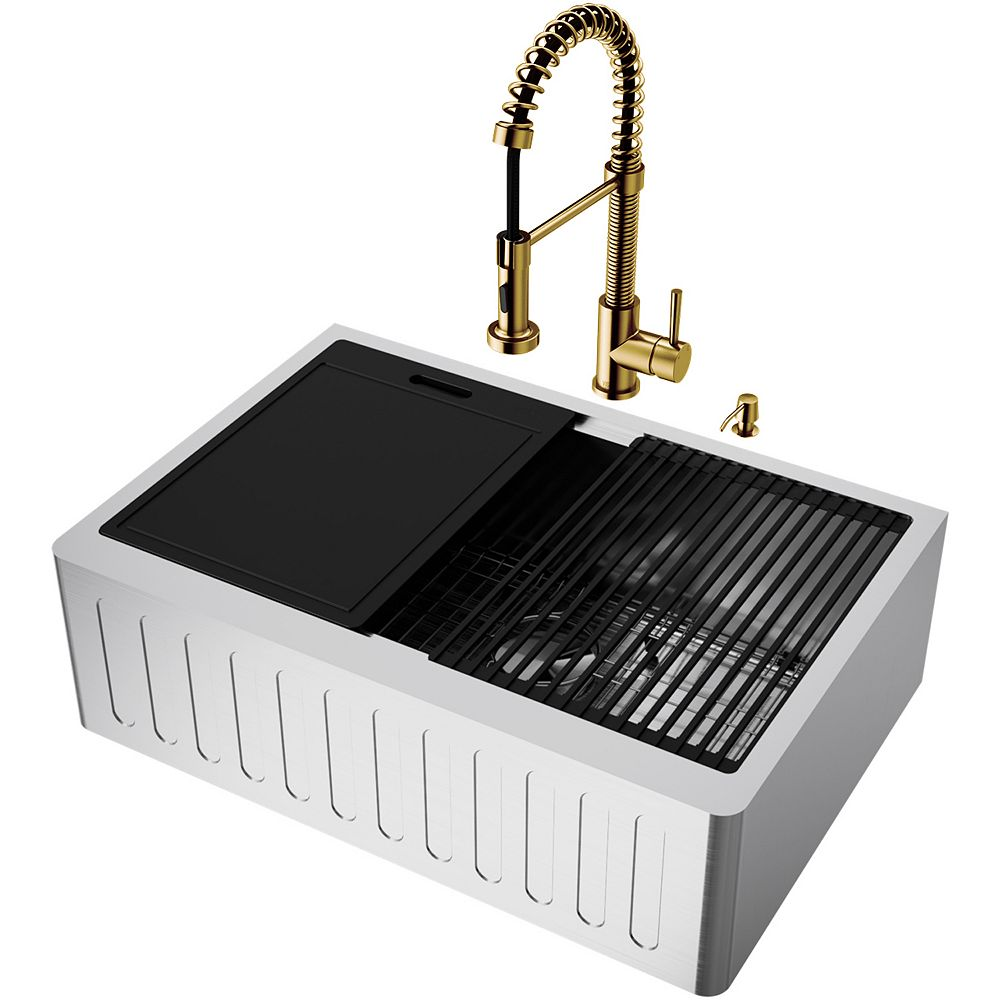 Vigo Oxford All In One Farmhouse Stainless Steel Single Bowl Kitchen Sink With Faucet In M The Home Depot Canada