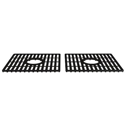16 po x 15 po Grille de fond en silicone pour évier de cuisine composite à double cuvette de 36 po. à double cuvette en composite, noir mat (paquet de 2)