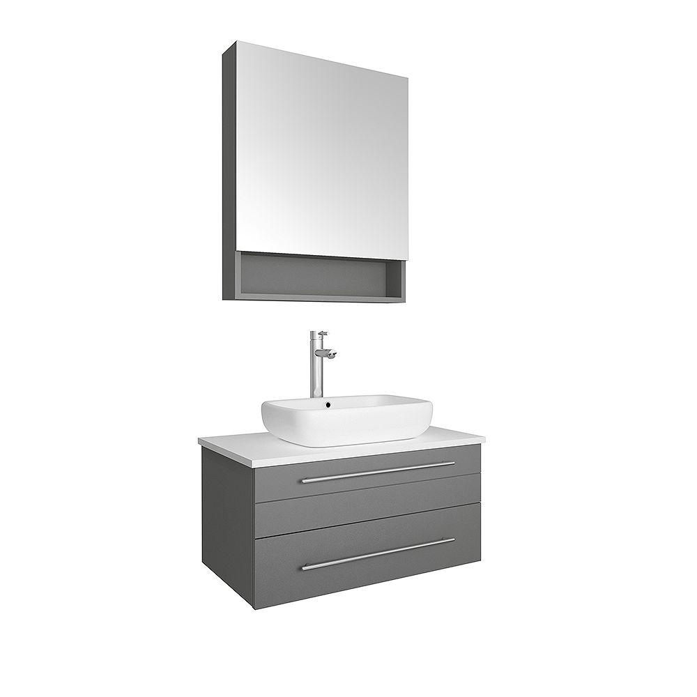 Fresca Lucera 30 inch Gray Wall Hung Vessel Sink Modern Bathroom Vanity with Medicine Cabinet