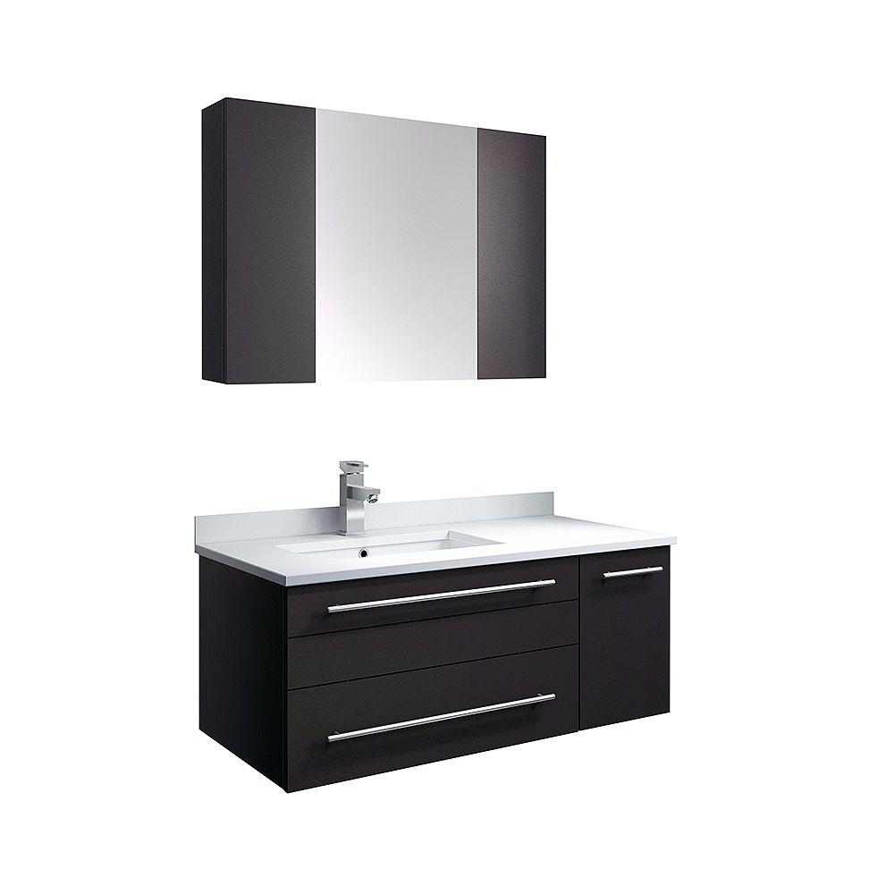 Fresca Lucera 36 inch Espresso Wall Hung LHS Undermount Sink Modern Bathroom Vanity with Medicine Cabinet