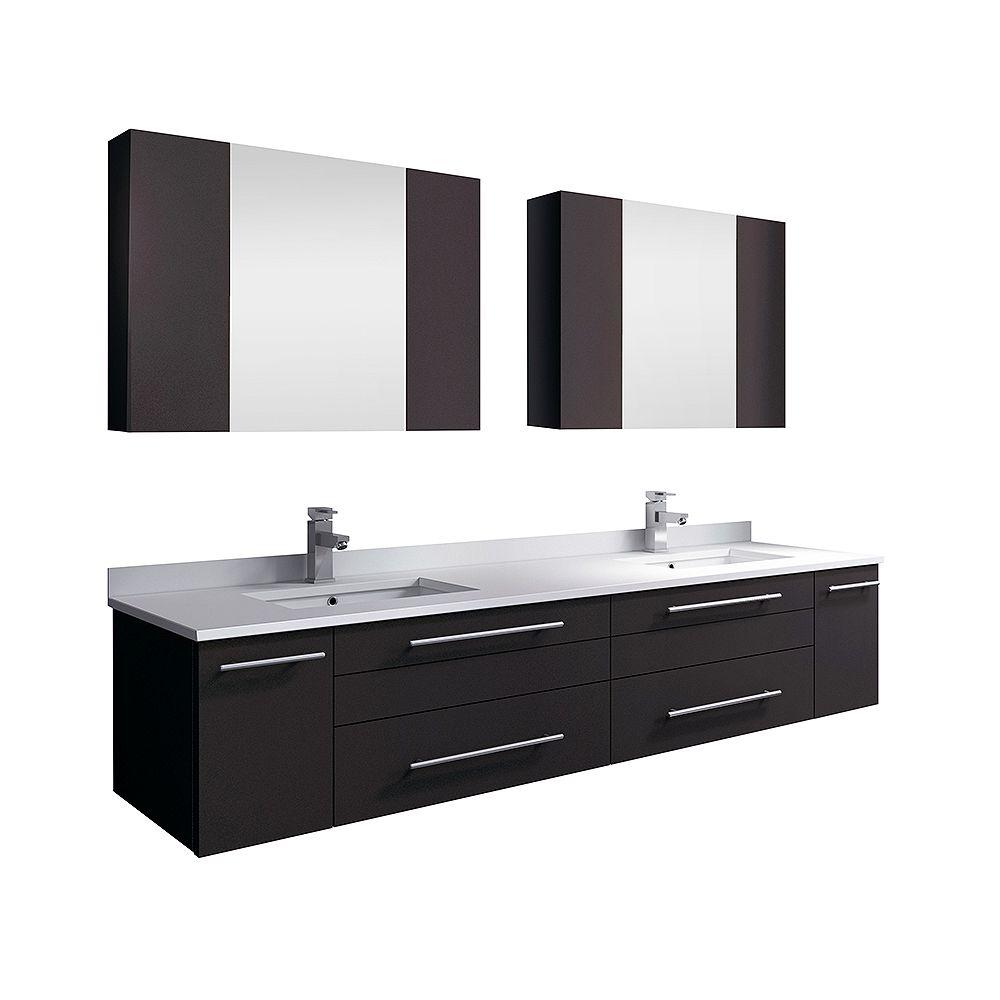 Fresca Lucera 72 in. Espresso Wall Hung Double Undermount Sink Modern Bathroom Vanity with Medicine Cabinet