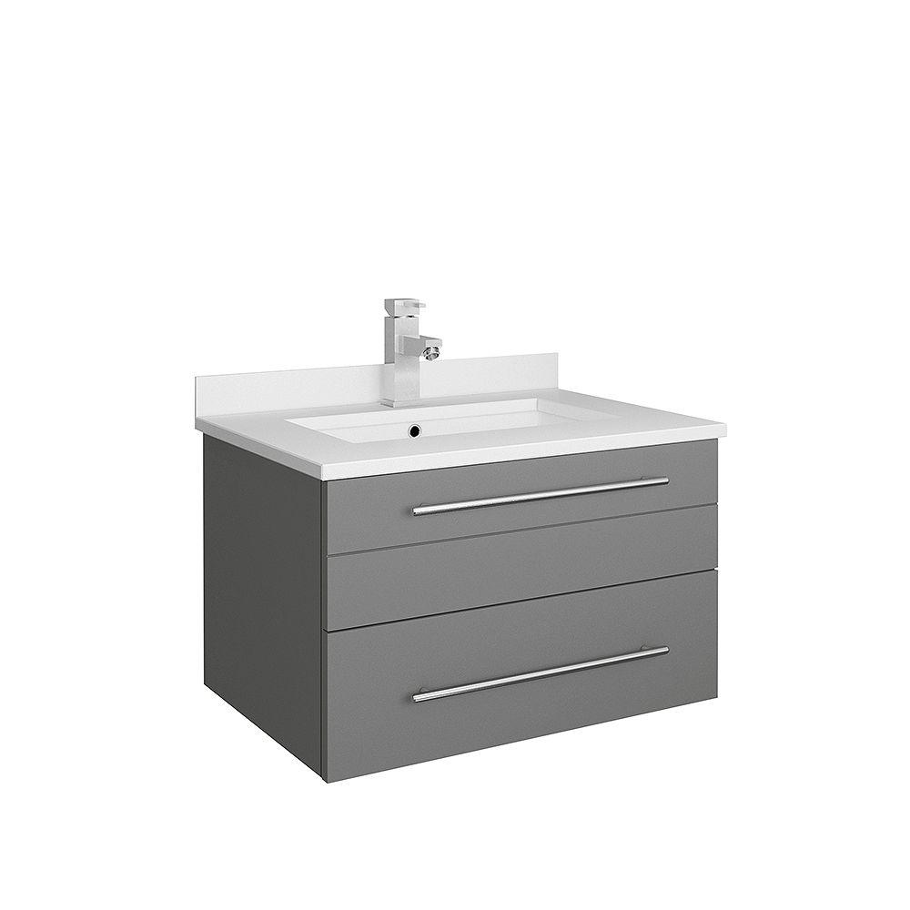Fresca Lucera 24 inch Gray Wall Hung Undermount Sink Modern Bathroom Vanity