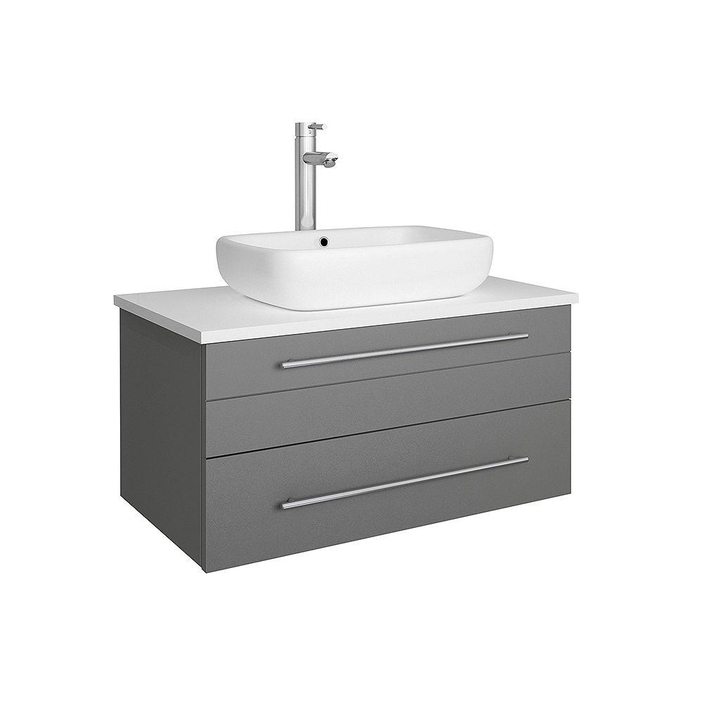 Fresca Lucera 30 inch Gray Wall Hung Vessel Sink Modern Bathroom Vanity