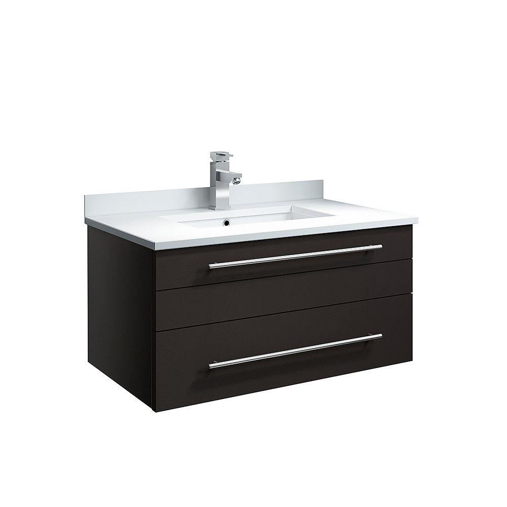 Fresca Lucera 30 in. Espresso Wall Hung Undermount Sink Modern Bathroom Vanity