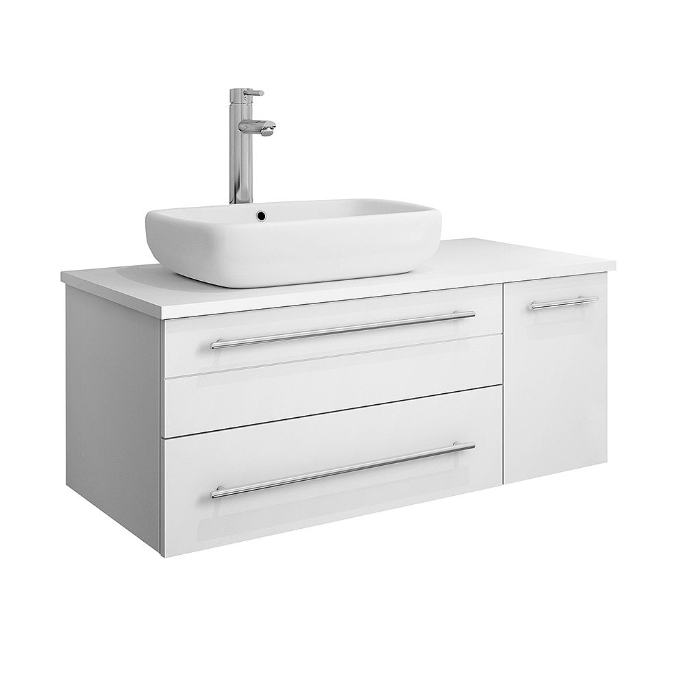 Fresca Lucera 36 Inch White Wall Hung Left Side Vessel Sink Modern Bathroom Vanity The Home Depot Canada