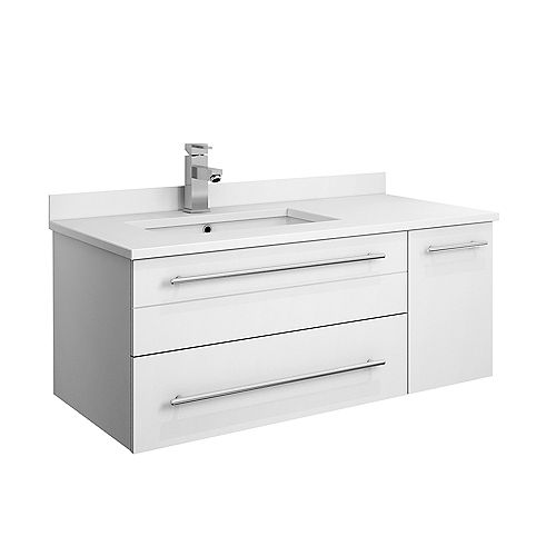 Fresca Lucera 36 inch White Wall Hung Left Side Undermount Sink Modern Bathroom Vanity