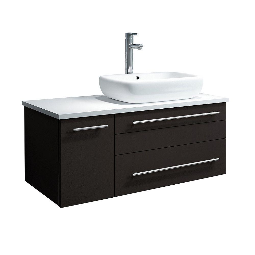Fresca Lucera 36 inch Espresso Wall Hung Right Side Vessel Sink Modern Bathroom Vanity