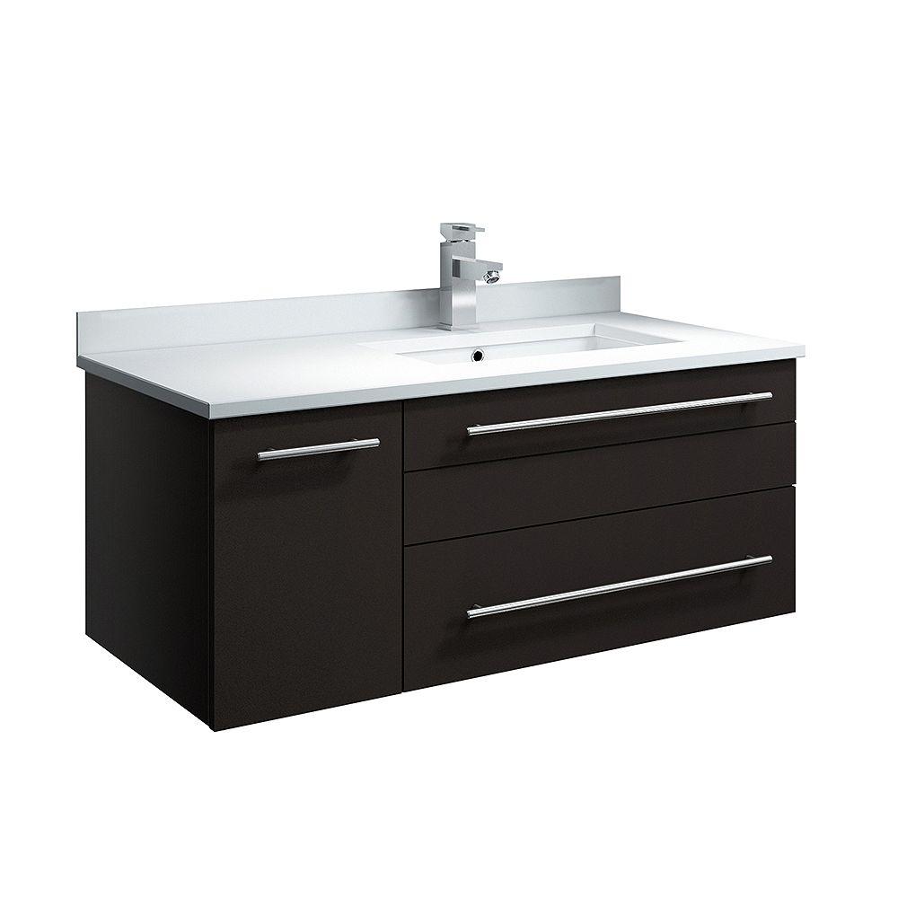 Fresca Lucera 36 inch Espresso Wall Hung Right Side Undermount Sink Modern Bathroom Vanity