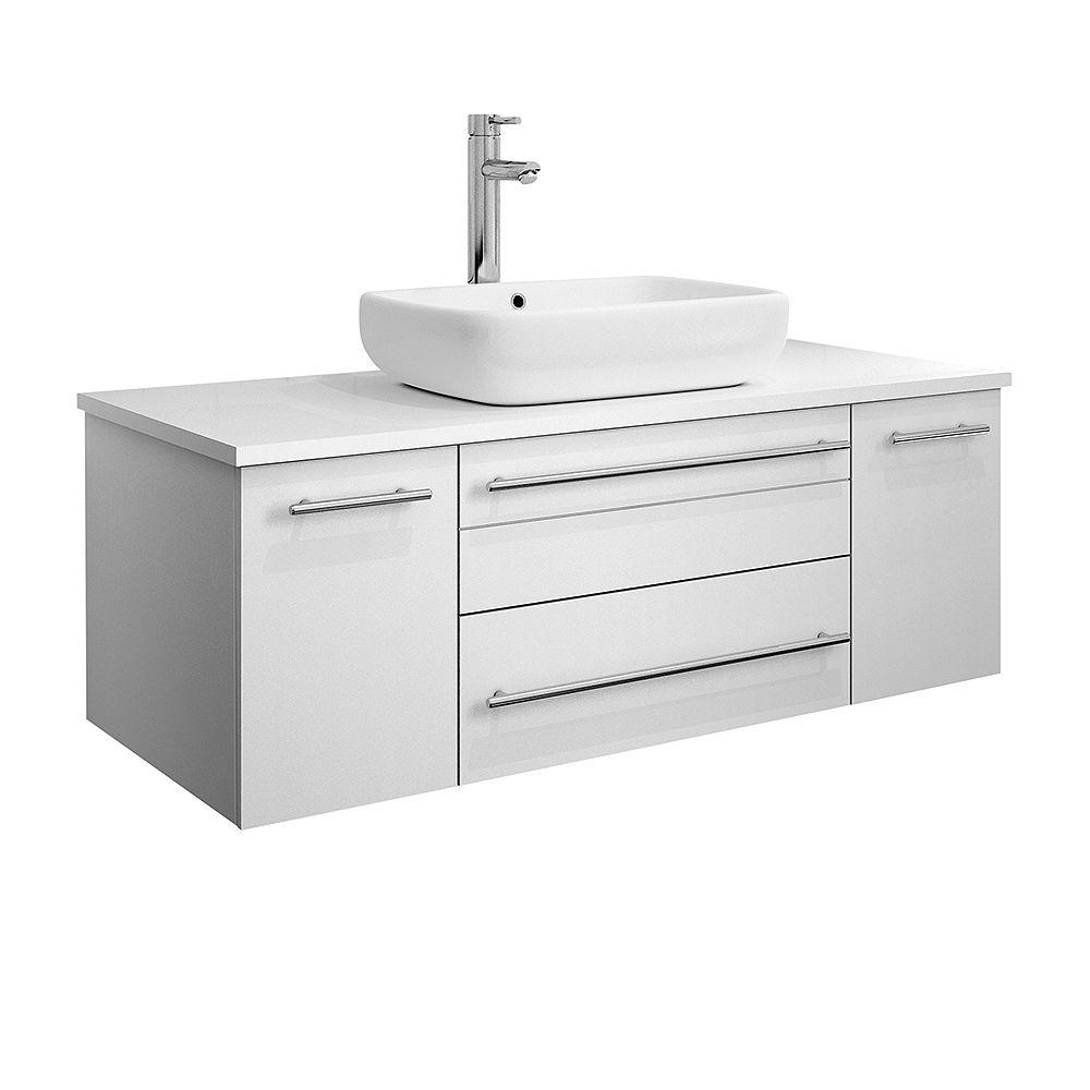 Fresca Lucera 42 inch White Wall Hung Vessel Sink Modern Bathroom Vanity