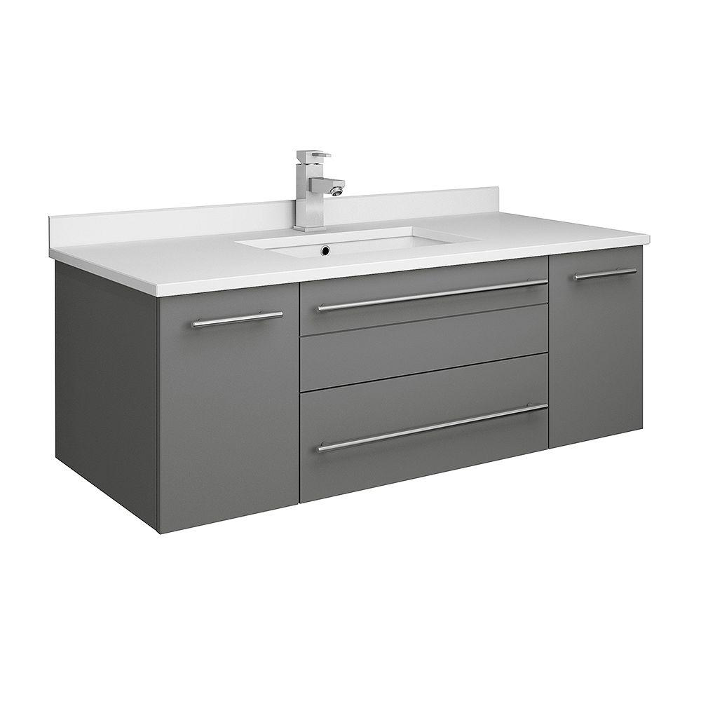 Fresca Lucera Armoire de salle de bains murale gris 42 po avec dessus et lavabo à montage sous plan