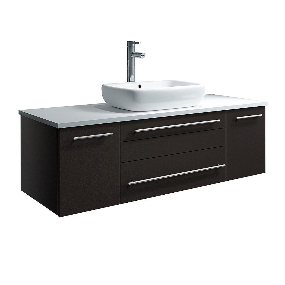 Fresca Lucera Armoire de salle de bains murale moderne espresso 48 po avec dessus et lavabo
