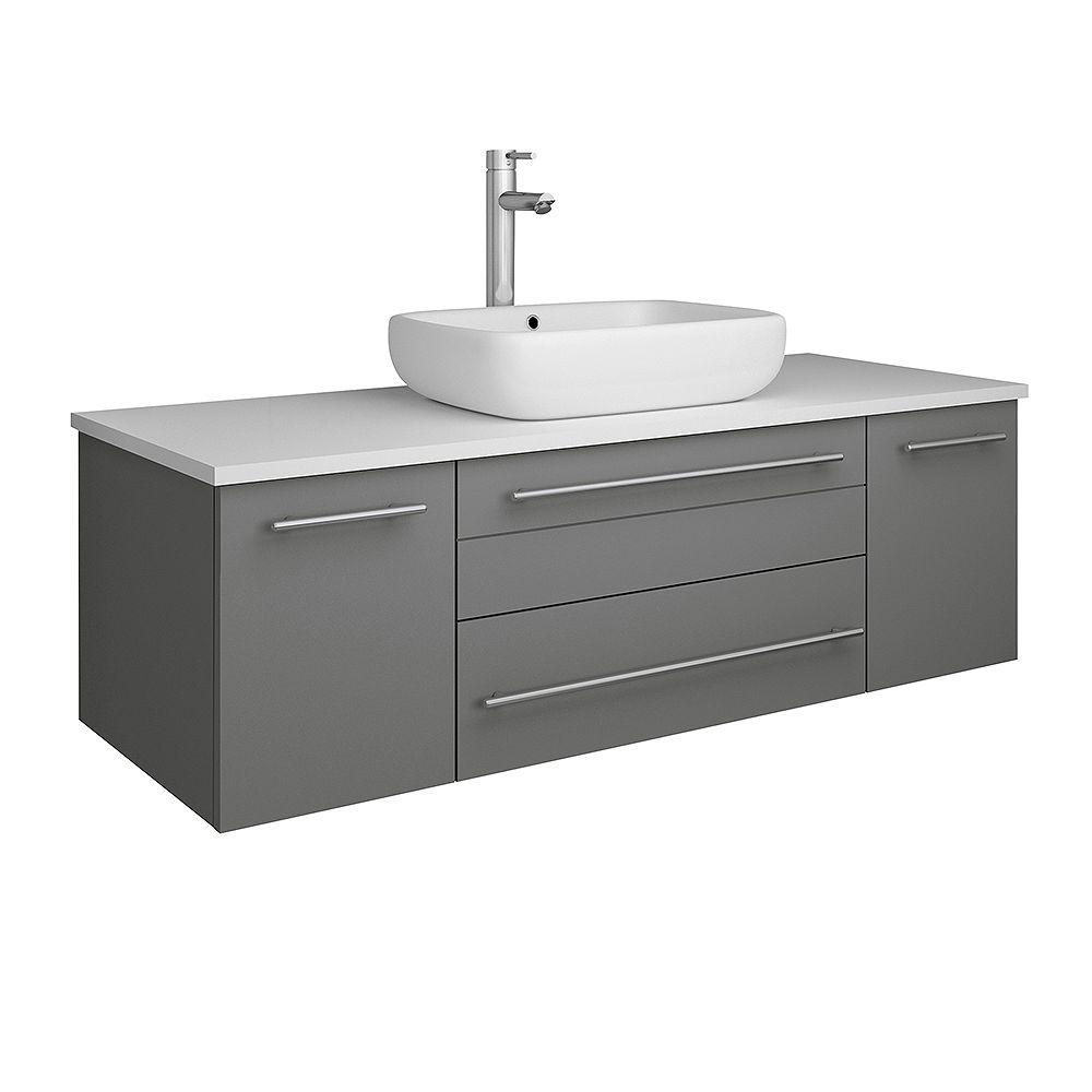 Fresca Lucera 48 inch Gray Wall Hung Vessel Sink Modern Bathroom Vanity