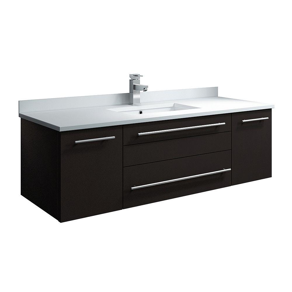 Fresca Lucera Armoire de salle de bains murale espresso 48 po avec dessus et lavabo à montage sous plan