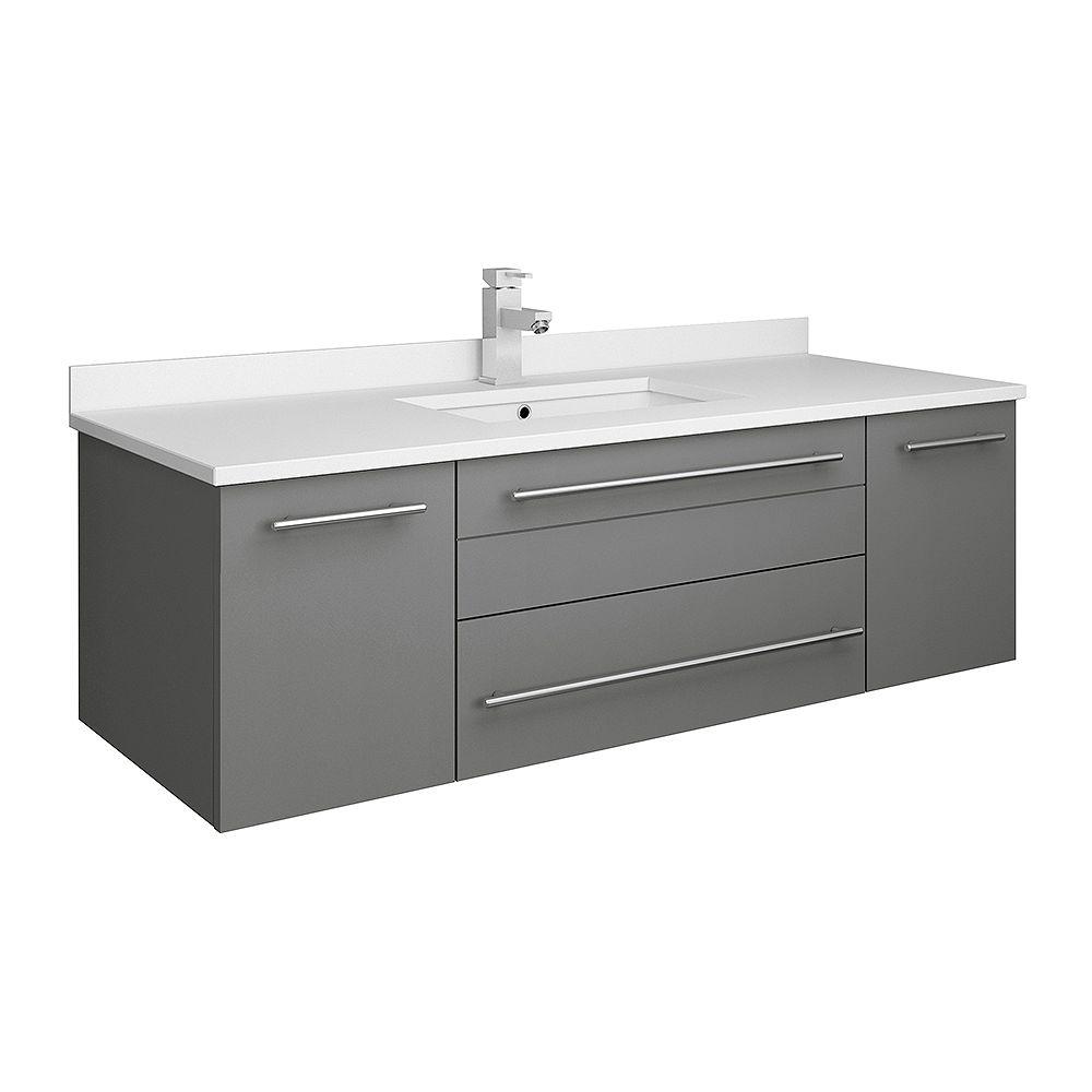 Fresca Lucera 48 inch Gray Wall Hung Undermount Sink Modern Bathroom Vanity